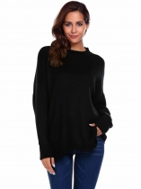 Black Long Sleeve Drop Shoulder Oversized Solid Loose Sweaters