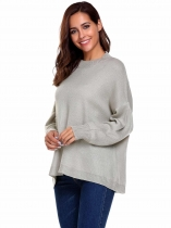 Gray Long Sleeve Drop Shoulder Oversized Solid Loose Sweaters