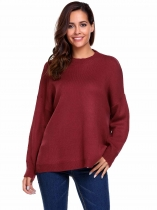Wine red Long Sleeve Drop Shoulder Oversized Solid Loose Sweaters