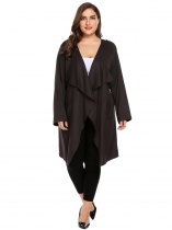 Dark brown Plus Size Long Sleeve Open Front Draped Trench Jacket