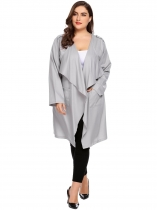Gray Plus Size Long Sleeve Open Front Draped Trench Jacket