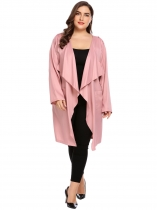 Pink Plus Size Long Sleeve Open Front Draped Trench Jacket