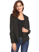 Black Women Casual Turn-down Collar Long Sleeve Solid Asymmetrical Hem Slim Fit Blazer Outwear
