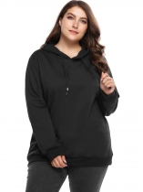 Black Plus Size Long Sleeve Fleece Solid Hoodie with Drawstring