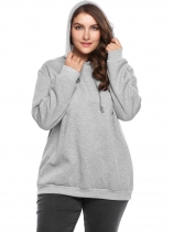 Grey Plus Size Long Sleeve Fleece Solid Hoodie with Drawstring
