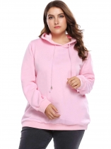 Pink Plus Size Long Sleeve Fleece Solid Hoodie with Drawstring