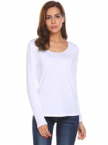 White Women O-Neck Long Sleeve Cross Back Hollow Out Solid Casual T-Shirt Tops