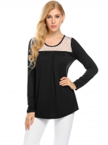 Black Women Long Sleeve Lace Patchwork Pleated Front Casual Tops