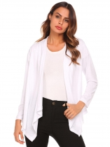 White Women Fashion Cowl Neck Wrap Long Sleeve Solid Button Coat