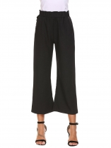 Noir Femmes taille élastique Pull On Volants Large Leg Casual Loose Cropped Pants