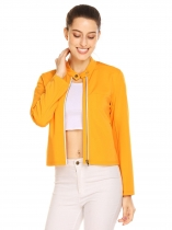 Yellow Women Stand Collar Long Sleeve Full Zip Short Casual Jacket with Pocket