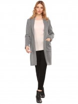 Gray Women Casual Turn-down Collar Long Sleeve Front Open Warm Coat Jacket