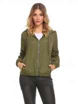 Army green Women Casual Drawstring Hooded Long Sleeve Solid Elastic Hem and Cuffs Basic Jacket
