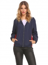 Navy blue Women Casual Drawstring Hooded Long Sleeve Solid Elastic Hem and Cuffs Basic Jacket