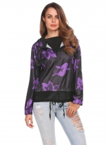 Purple Women Casual Hooded Long Sleeve Printed Mesh Patchwork Half Zipper Up Jacket