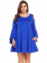 Blue Plus Size Cold Shoulder Flare Sleeve Tunic Casual Dress