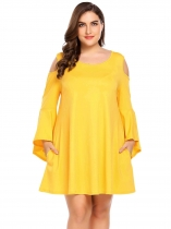 Yellow Plus Size Cold Shoulder Flare Sleeve Tunic Casual Dress