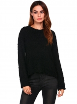 Black Mulheres Casual Luva longa O pescoço Solid Slim Pullover High-low Crop Tops Sweaters
