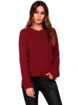 Vinho tinto Mulheres Casual Luva longa O pescoço Solid Slim Pullover High-low Crop Tops Sweaters