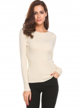 Apricot O Neck Long Sleeve Solid Slim Waist Knitted Ribbed Casual Sweaters