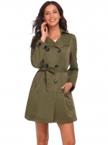 Army green Women Lapel Long Sleeve Double-breasted Bowknot Casual Trench Coat with Belt
