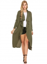 Army green Solid Long Sleeve Open Front Draped Casual Trench Cardigan