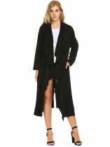Black Solid Long Sleeve Open Front Draped Casual Trench Cardigan