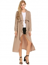 Coffee Solid Long Sleeve Open Front Draped Casual Trench Cardigan