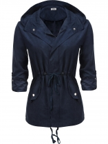 Navy blue Women Roll Up Sleeve Zip-Up Solid Drawstring Hooded Military Jacket
