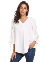White Femmes V neck 3/4 Sleeve Lace up Solid Tee Leisure Loose T-shirt Blouse