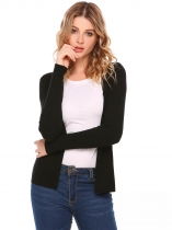 Black Long Sleeve Solid Open Slim Cardigan