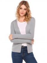 Grey Long Sleeve Solid Open Slim Cardigan