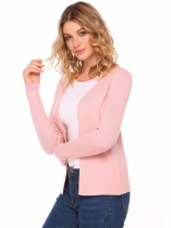 Pink Long Sleeve Solid Open Slim Cardigan