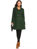 Dark green Women Casual Turn-down Collar Long Sleeve High Waist Warm Coat Outwear