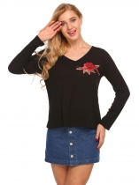 Black V Neck Long Sleeve Embroidery Tees Casual T Shirt