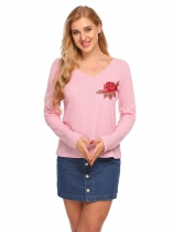 Pink V Neck Long Sleeve Embroidery Tees Casual T Shirt