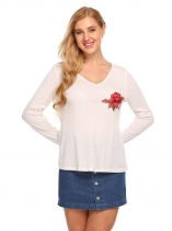 White V Neck Long Sleeve Embroidery Tees Casual T Shirt