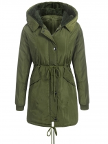 Verde do exército Mulheres Winter Warm Fleece Hooded Drawstring Solid Long Quilted Military Coats