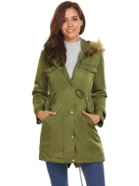 Army green Women Casual Hooded Thickened Winter Warm Parka Coat