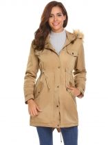 Khaki Women Casual Hooded Thickened Winter Warm Parka Coat