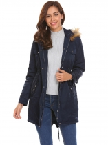 Navy blue Women Casual Hooded Thickened Winter Warm Parka Coat