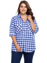 White blue Plaid Plus Size 3/4 Sleeve Button-up Shirts