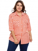 White Orange Plaid Plus Size 3/4 Sleeve Button-up Shirts
