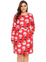 Red Women Plus Size Christmas Snowman Printing Long Sleeve Slim Fit A-Line Dress