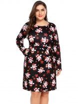 Multi-color Women Plus Size Christmas Snowman Printing Long Sleeve Slim Fit A-Line Dress