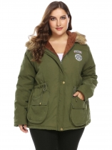 Green Women Plus Size Hooded Long Sleeve Solid Zip-up Anorak Parka Jacket