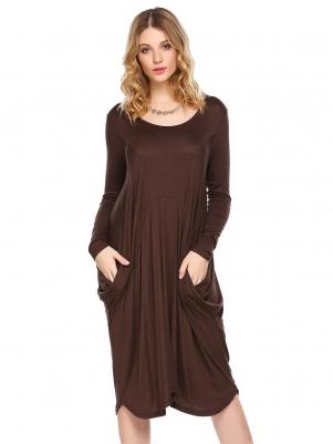 08510e919e4d Coffee Round Neck Long Sleeve Loose Baggy Casual Dress