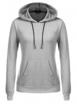 Gray Hooded Solid Casual Sports Pullover Hoodie Sweatshirt w/ Pocket