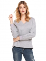 Light gray Women Casual Hooded Long Sleeve Split and Asymmetrical Hem Solid Sexy Hoodie