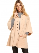 Khaki Women Winter Fashion Turn Down Collar 3/4 Flare Sleeve Button-Down Swing Coat